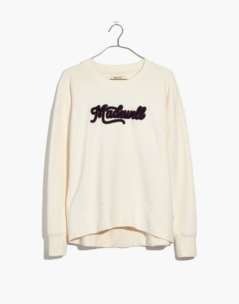 Embroidered Madewell Varsity Sweatshirt in bright ivory image 4