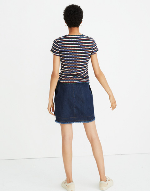 Ribbed Baby Tee in Stripe in white wash image 3