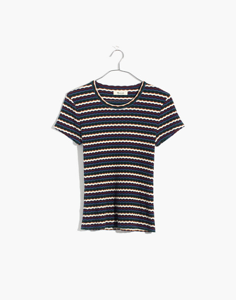 Ribbed Baby Tee in Stripe in white wash image 4