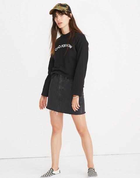 Ciao For Now Mockneck Sweatshirt in true black image 2