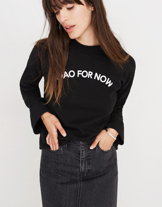 Ciao For Now Mockneck Sweatshirt in true black image 1