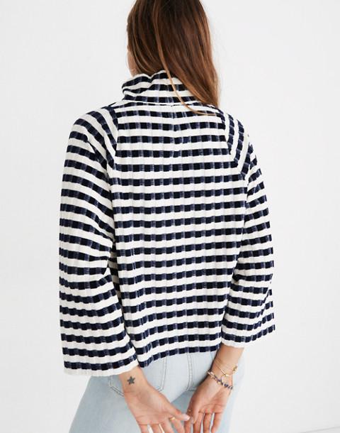 Texture & Thread Long-Sleeve Mockneck Top in Velvet-Stripe in deep navy image 3