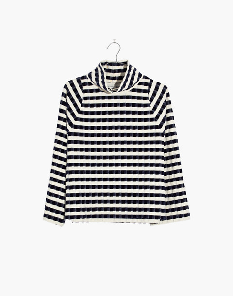 Texture & Thread Long-Sleeve Mockneck Top in Velvet-Stripe in deep navy image 4
