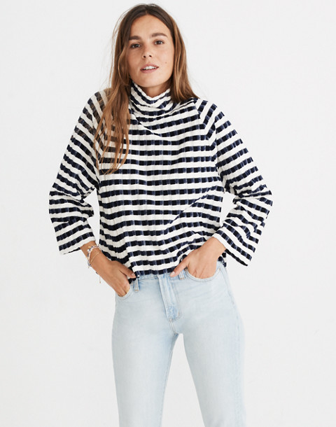 Texture & Thread Long-Sleeve Mockneck Top in Velvet-Stripe in deep navy image 1