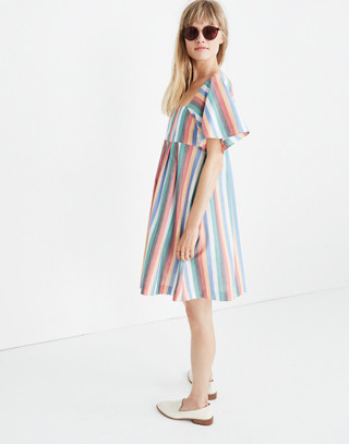 Square-Neck Mini Dress in Festival Stripe in multi image 2