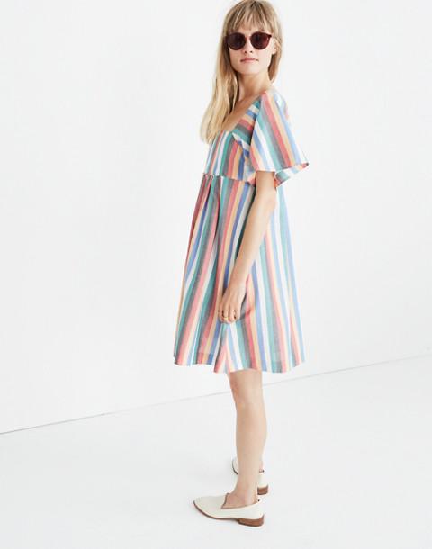 Square-Neck Mini Dress in Festival Stripe