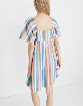 Square-Neck Mini Dress in Festival Stripe in multi image 3