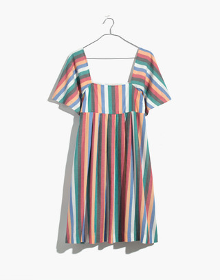 Square-Neck Mini Dress in Festival Stripe in multi image 4