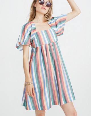 Square-Neck Mini Dress in Festival Stripe in multi image 1