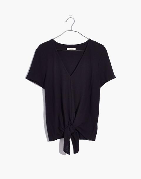 Texture & Thread V-Neck Modern Tie-Front Top in true black image 1