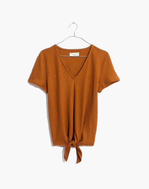 Texture & Thread V-Neck Modern Tie-Front Top in golden pecan image 1