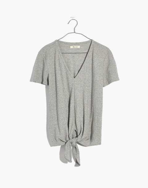 Texture & Thread V-Neck Modern Tie-Front Top in hthr pelican image 4