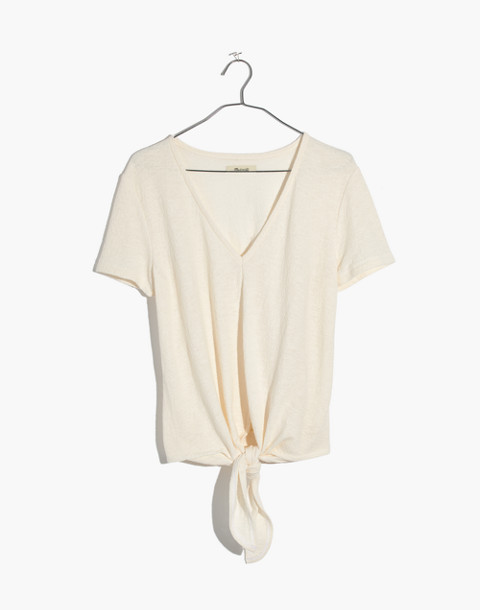 Texture & Thread V-Neck Modern Tie-Front Top in bright ivory image 1