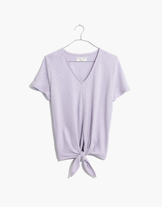 Texture & Thread V-Neck Modern Tie-Front Top in sundrenched lilac image 1