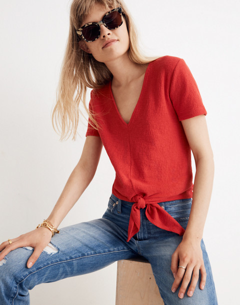 Texture & Thread V-Neck Modern Tie-Front Top in cranberry image 2