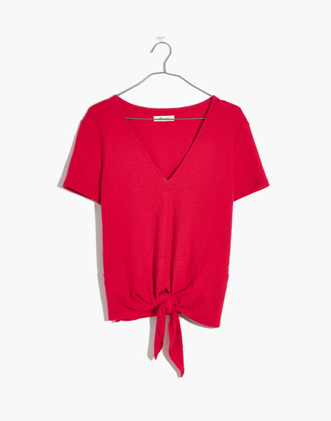 Texture & Thread V-Neck Modern Tie-Front Top in cranberry image 4