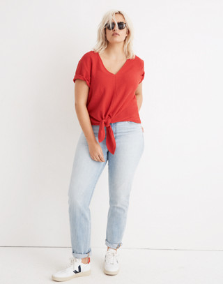 Texture & Thread V-Neck Modern Tie-Front Top in cranberry image 1