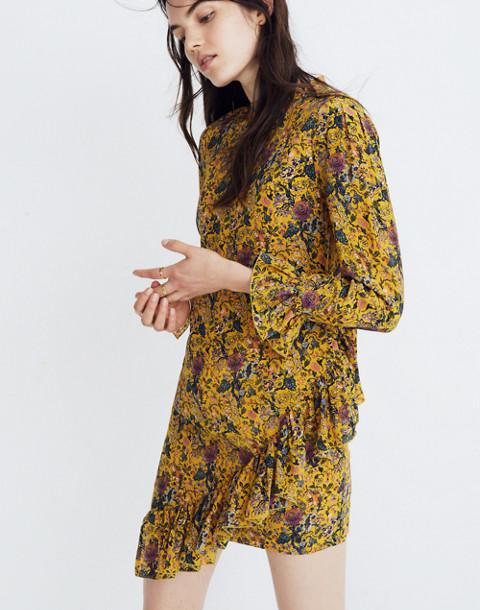 Madewell x Karen Walker® Silk Floral Loretta Dress in upholstery mystic yellow image 3