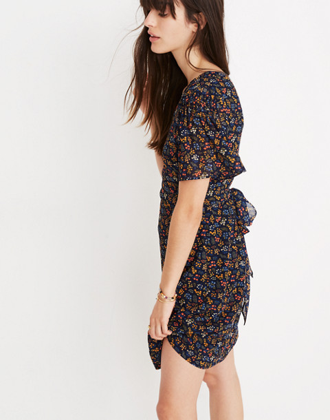 Cross-Front Mini Dress in Garden Party in liberty blue night image 2