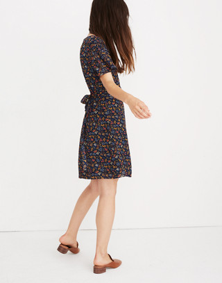 Cross-Front Mini Dress in Garden Party in liberty blue night image 3