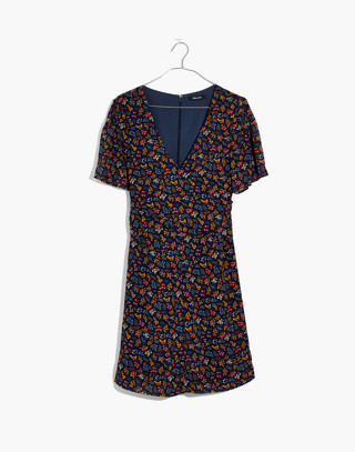Cross-Front Mini Dress in Garden Party in liberty blue night image 4