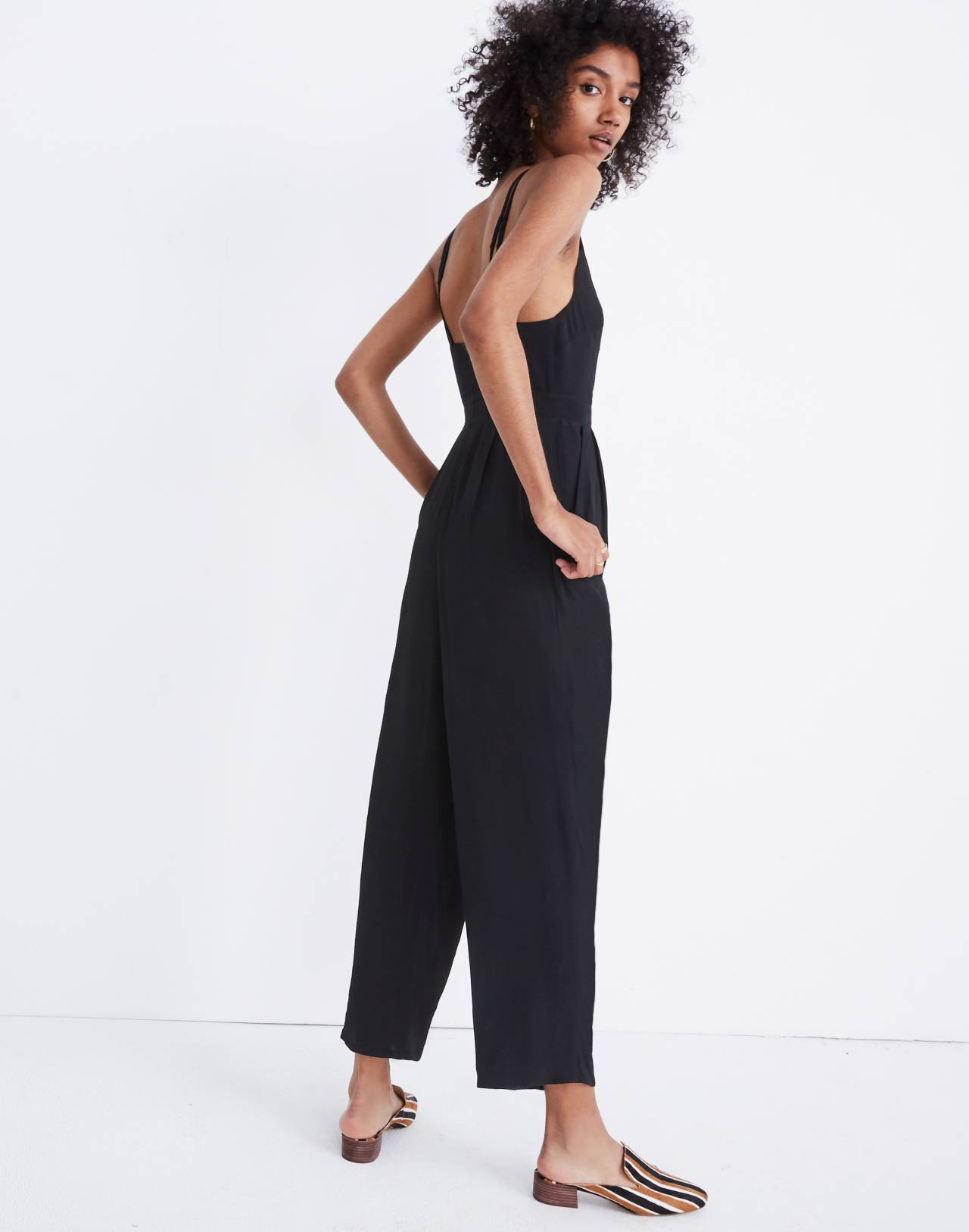 V-Neck Jumpsuit in true black image 2