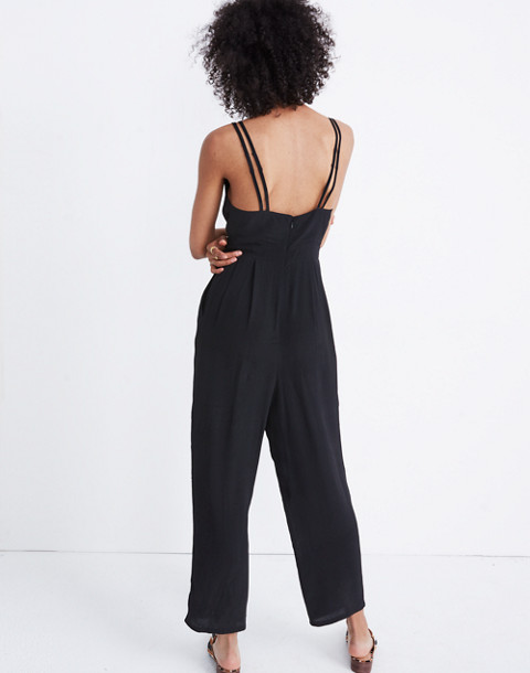 V-Neck Jumpsuit in true black image 3