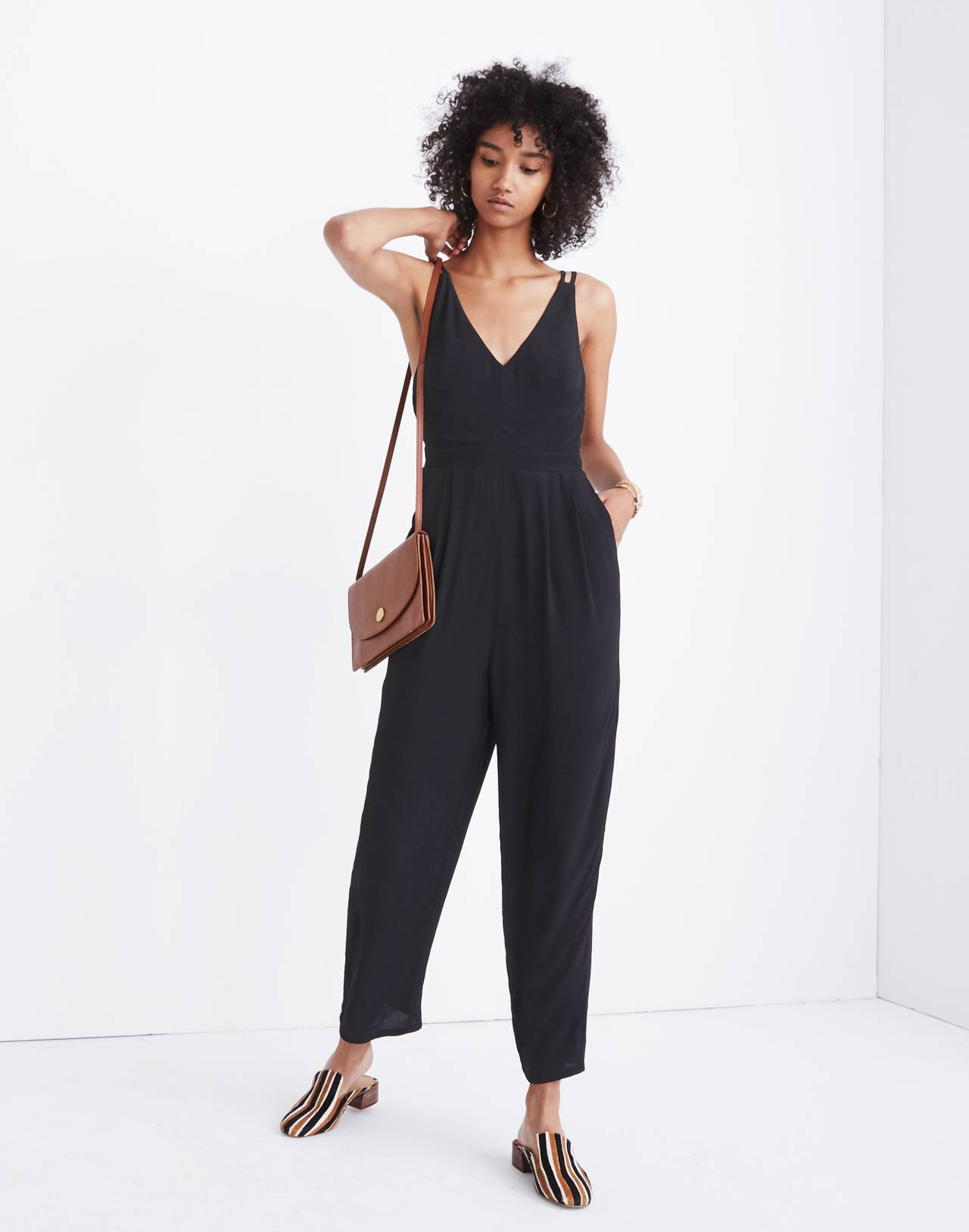 V-Neck Jumpsuit in true black image 1