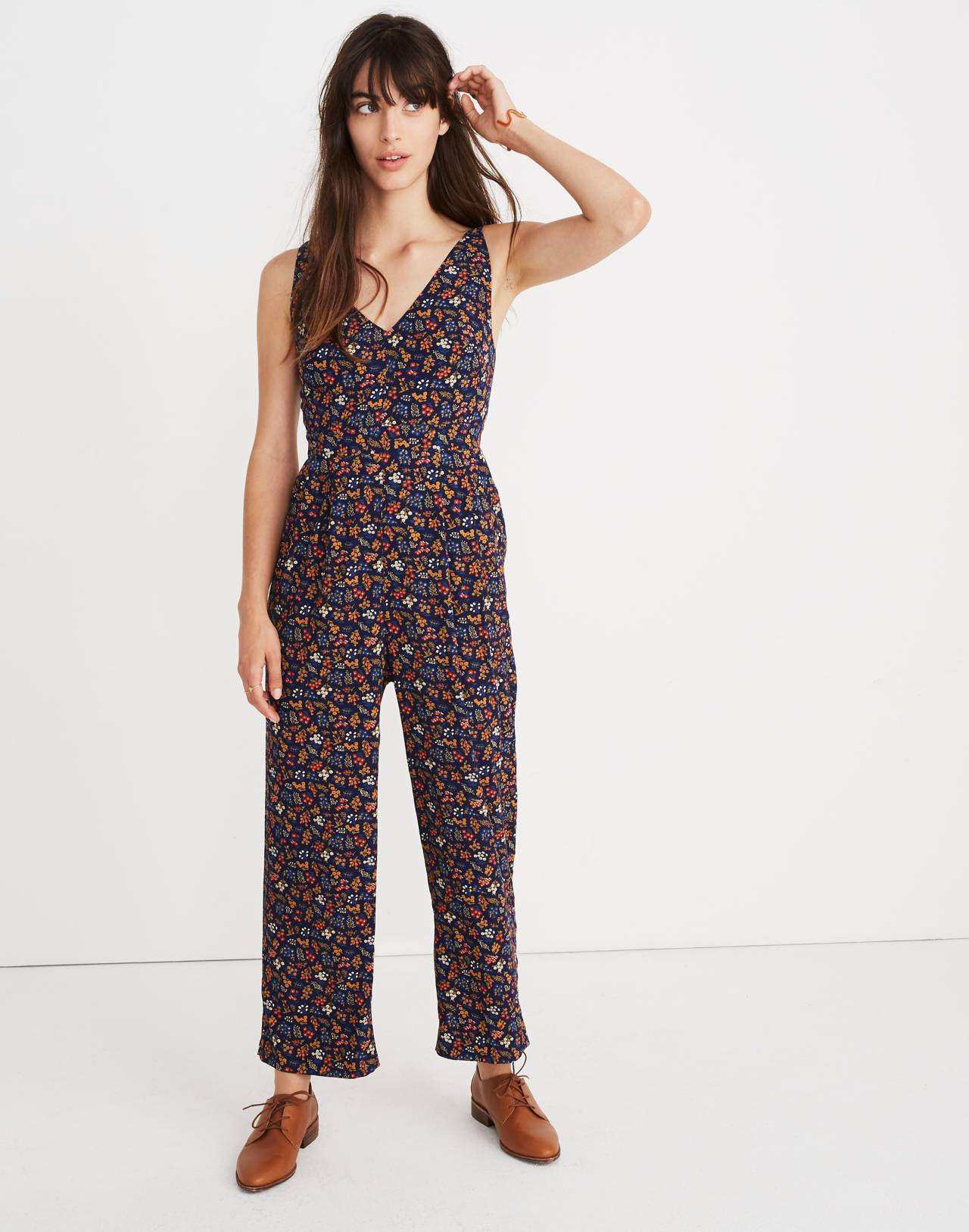 V-Neck Jumpsuit in Garden Party in liberty blue night image 1