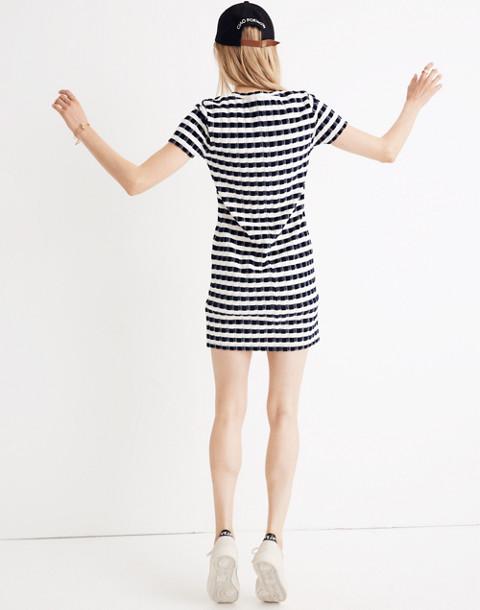 Velvet-Striped Tee Dress in deep navy image 2