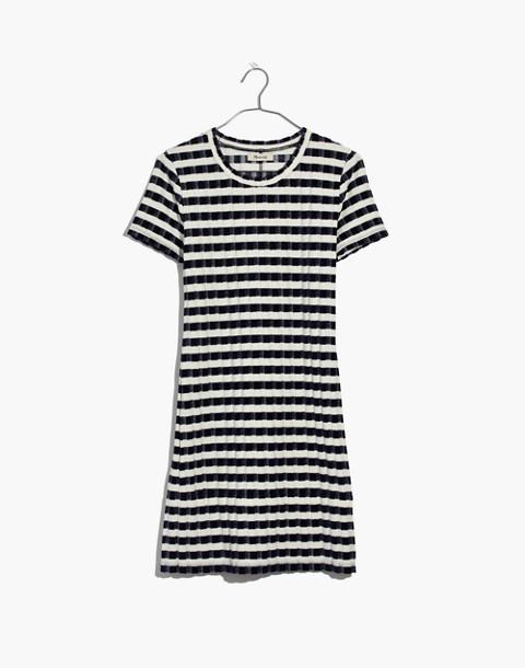 Velvet-Striped Tee Dress in deep navy image 4