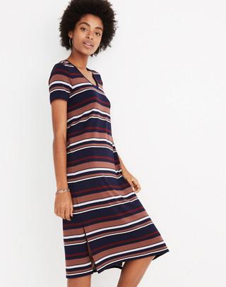 Striped U-Neck Tee Dress in juniper berry image 2