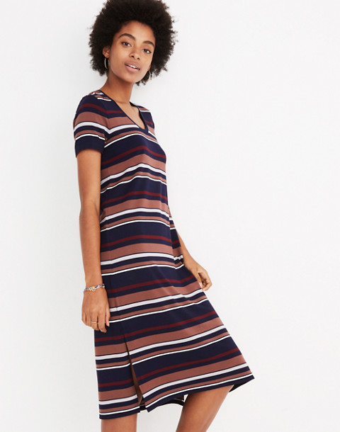 Striped U-Neck Tee Dress in juniper berry image 2