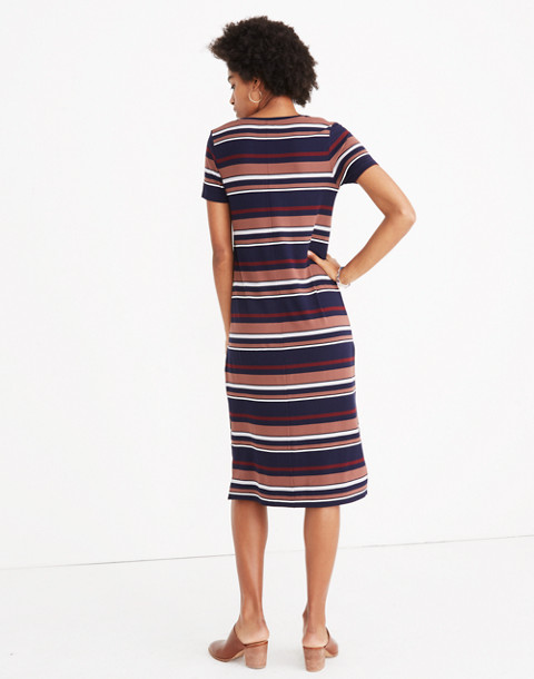 Striped U-Neck Tee Dress in juniper berry image 3