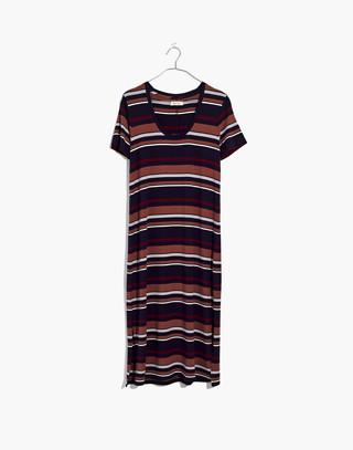 Striped U-Neck Tee Dress in juniper berry image 4