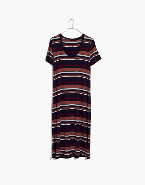 Striped U-Neck Tee Dress in juniper berry image 4