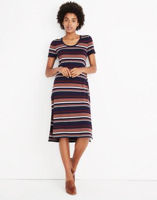Striped U-Neck Tee Dress in juniper berry image 1