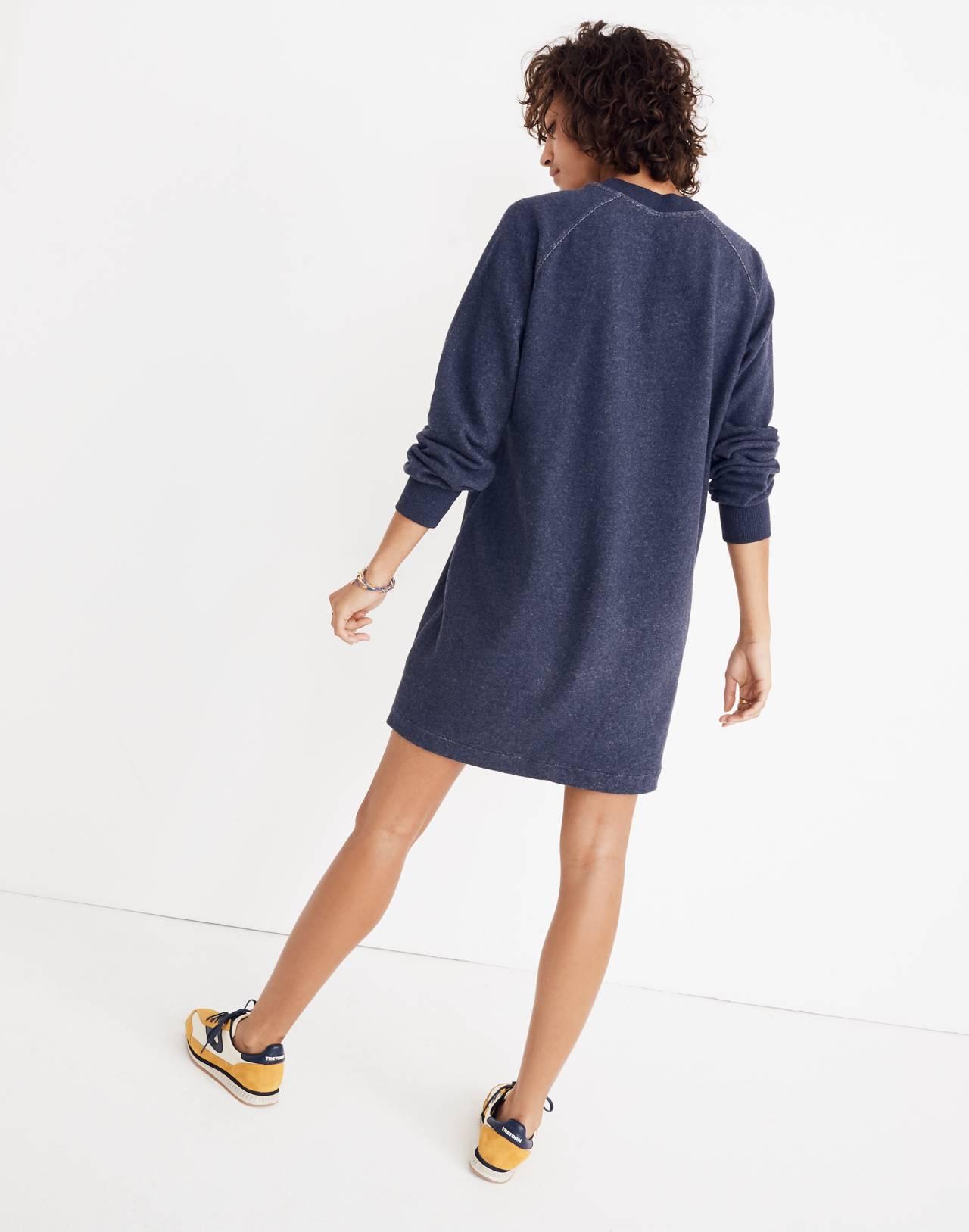 Bubble-Sleeve Sweatshirt Dress in hthr ink image 2