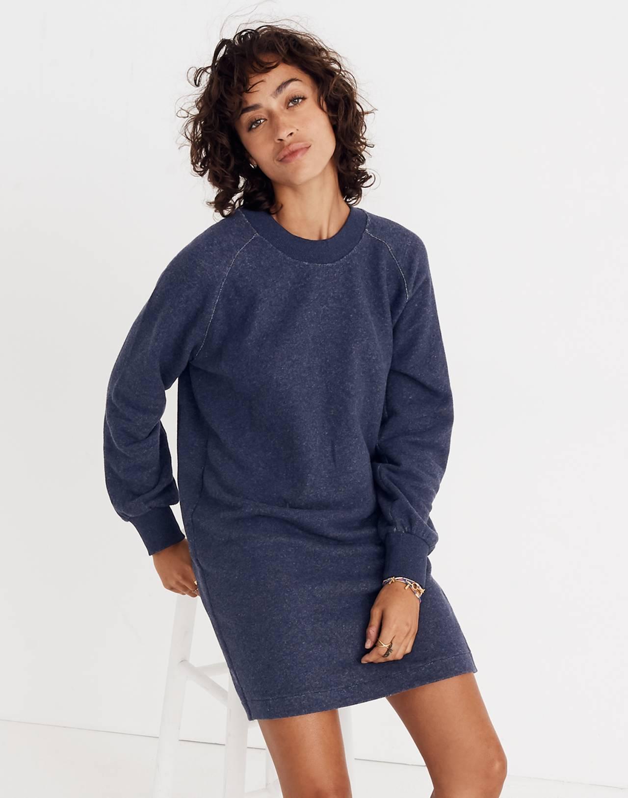 Bubble-Sleeve Sweatshirt Dress in hthr ink image 3