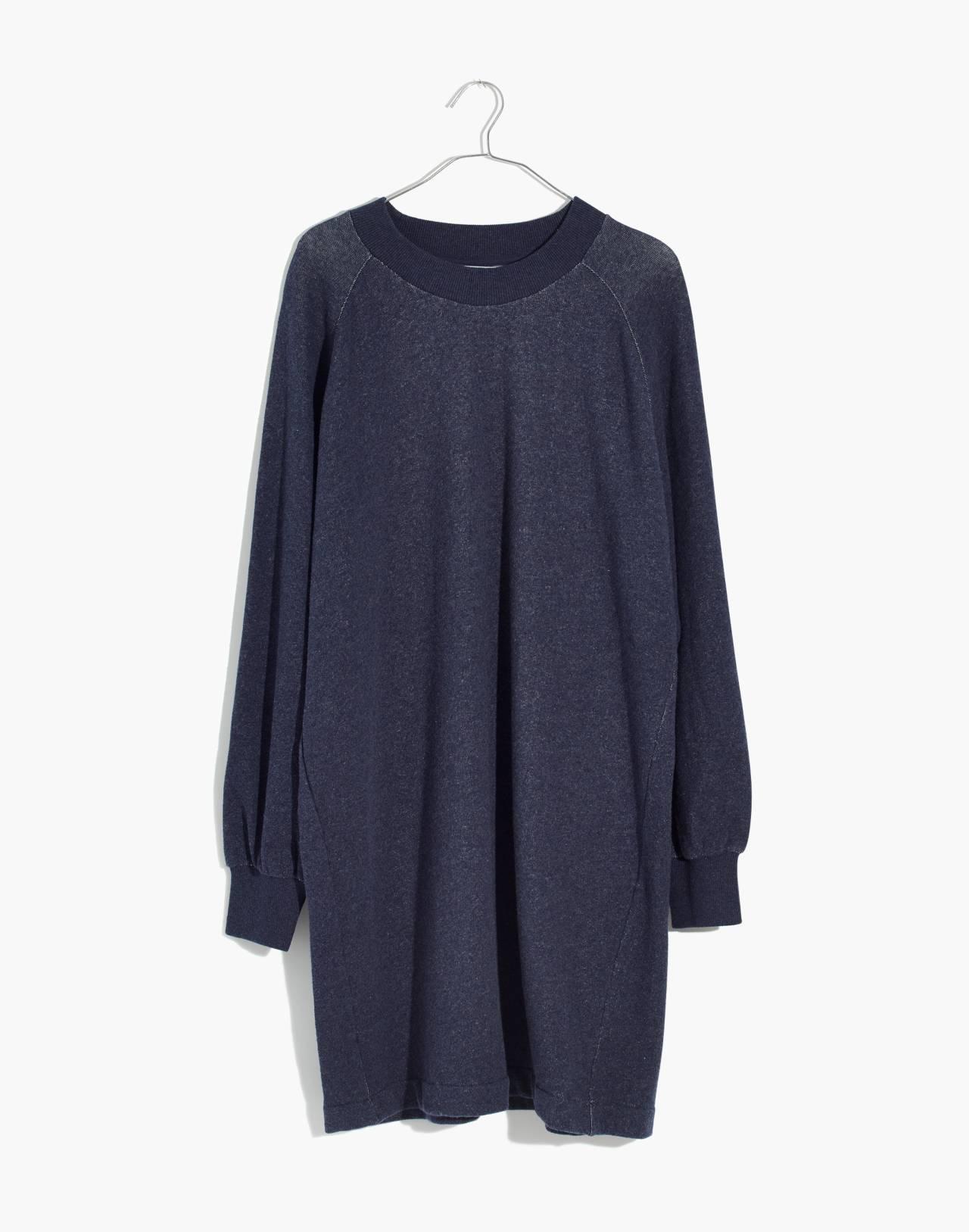 Bubble-Sleeve Sweatshirt Dress in hthr ink image 4