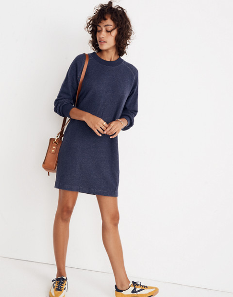 Bubble-Sleeve Sweatshirt Dress in hthr ink image 1