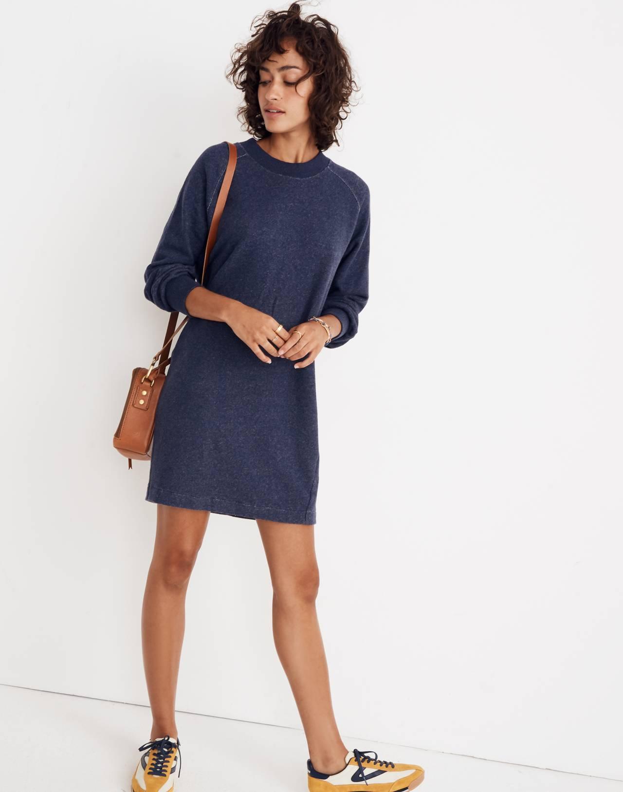Bubble-Sleeve Sweatshirt Dress in hthr ink image 1