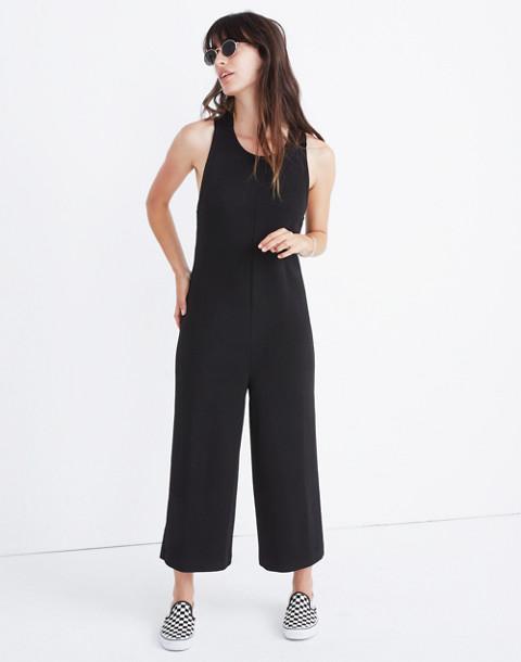 Texture & Thread Tie-Back Jumpsuit in true black image 3