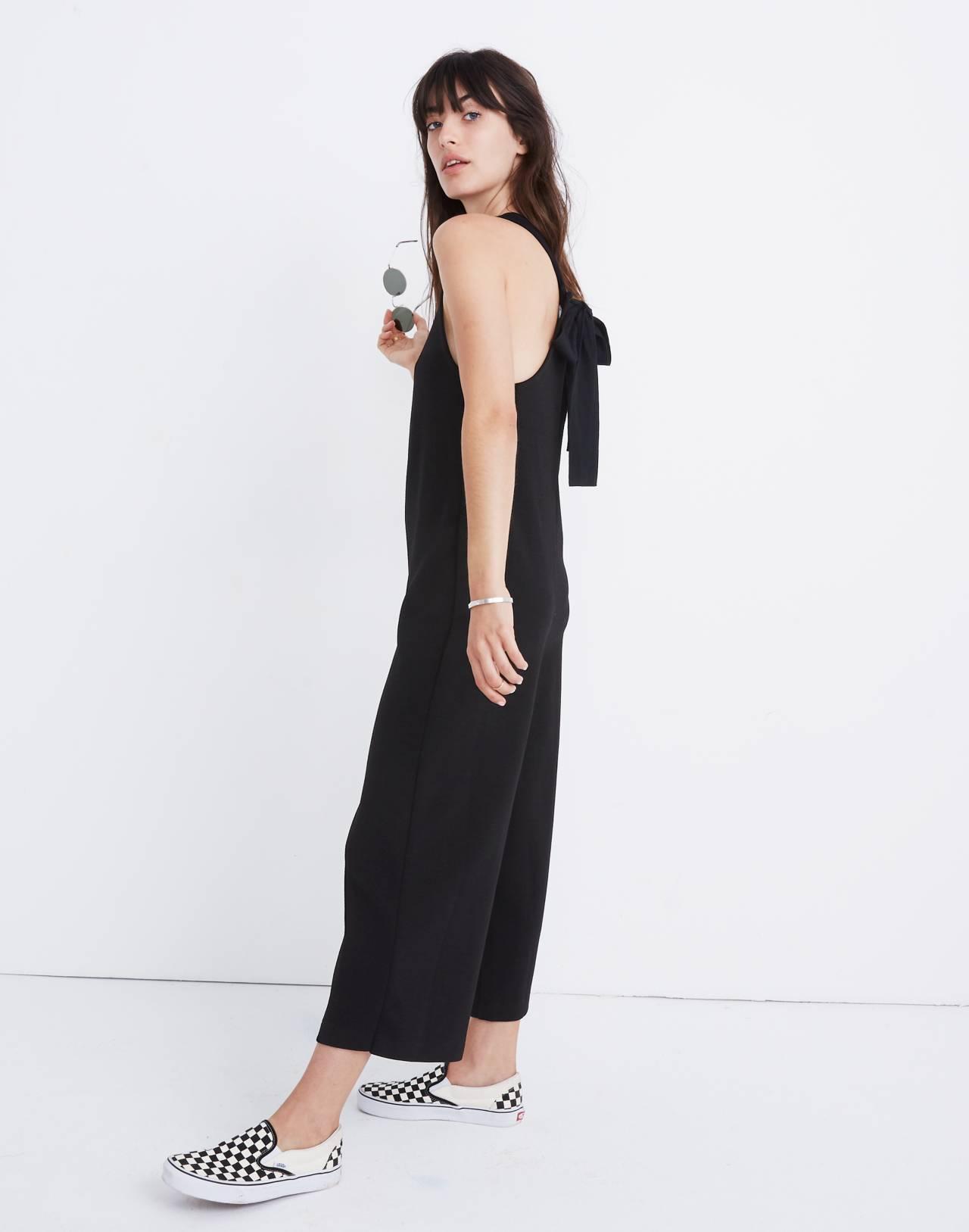 Texture & Thread Tie-Back Jumpsuit in true black image 1