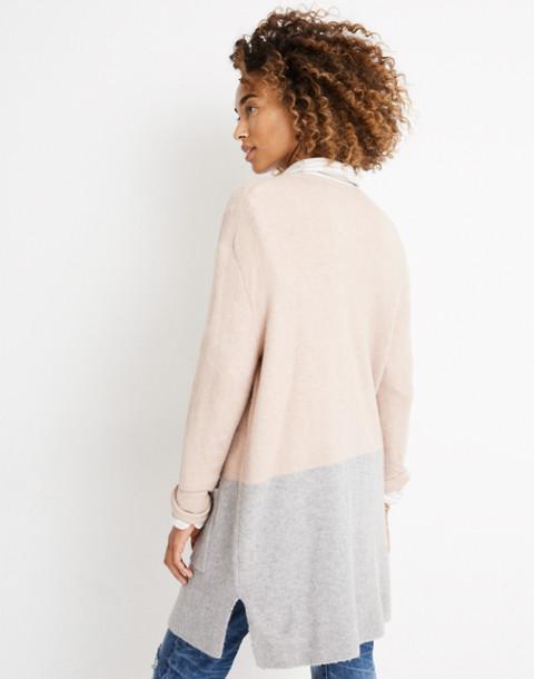 Kent Colorblock Cardigan Sweater in Coziest Yarn in heather beige image 2
