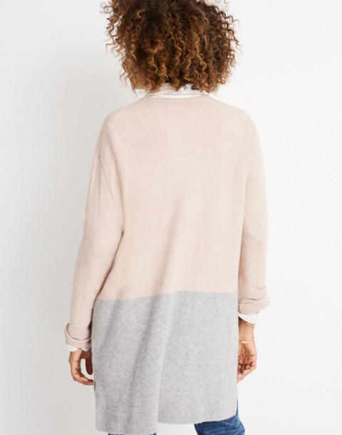 Kent Colorblock Cardigan Sweater in Coziest Yarn in heather beige image 3