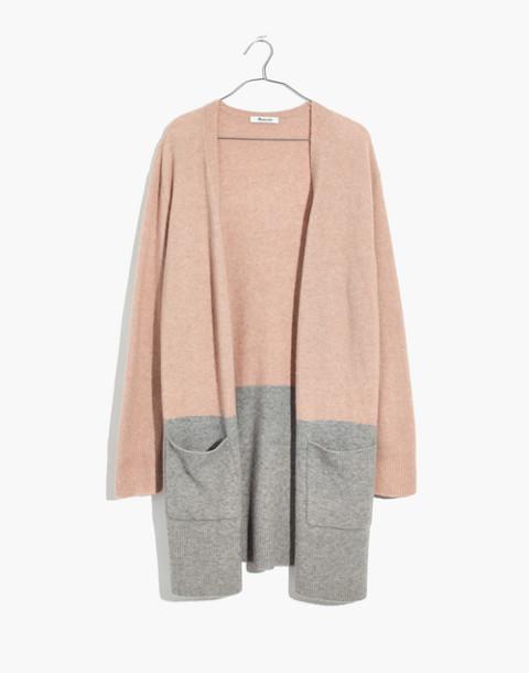 Kent Colorblock Cardigan Sweater in Coziest Yarn in heather beige image 4