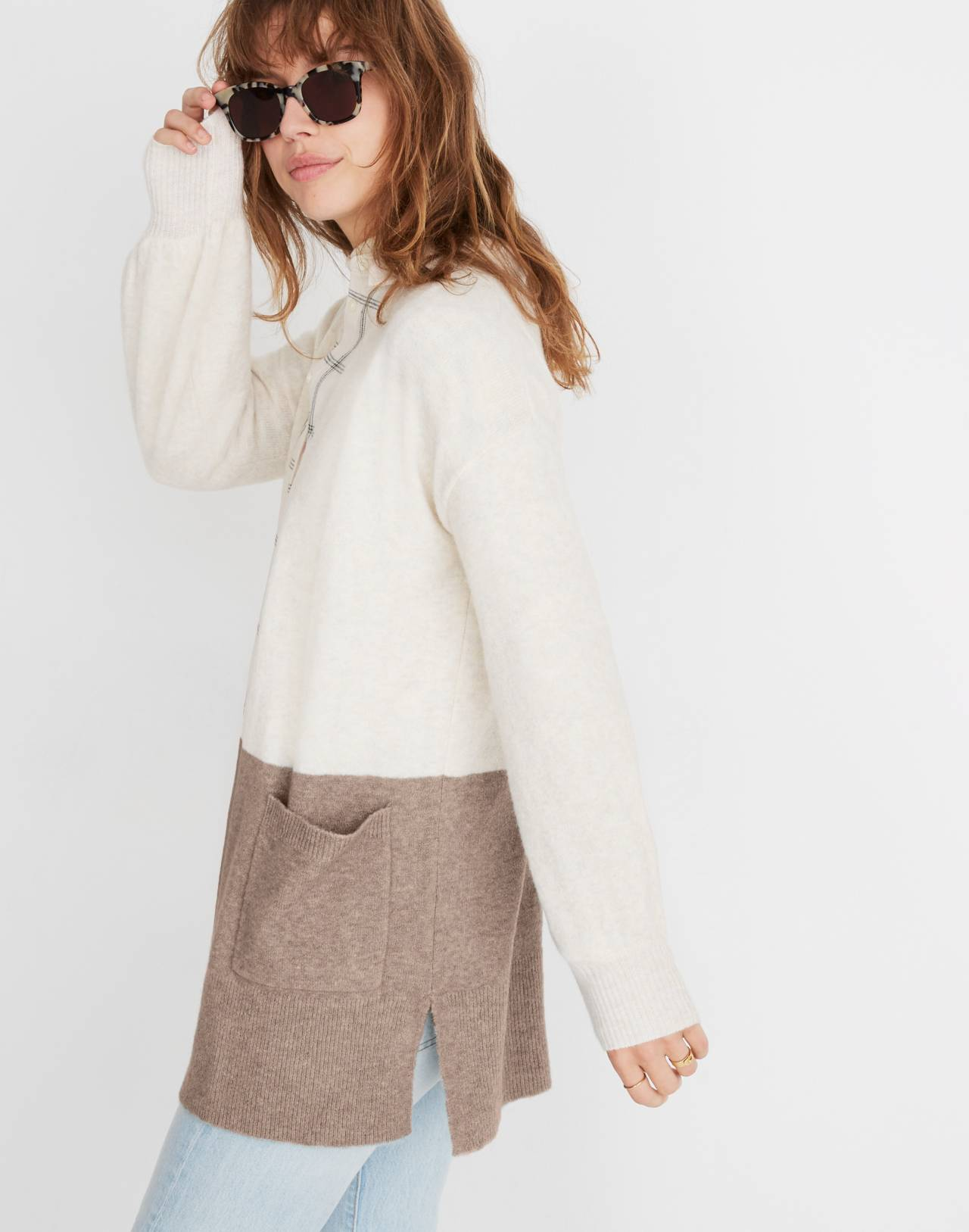 Kent Colorblock Cardigan Sweater in Coziest Yarn in bright ivory image 2