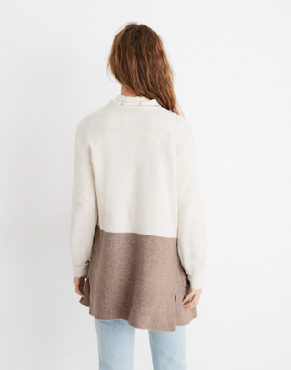 Kent Colorblock Cardigan Sweater in Coziest Yarn in bright ivory image 3