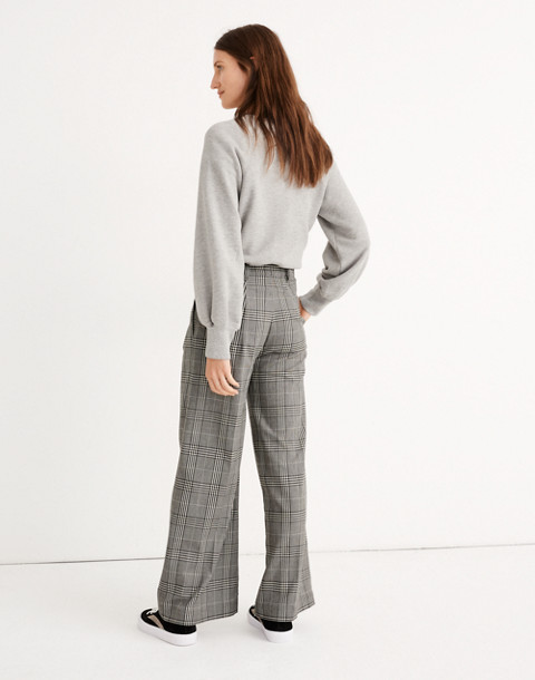 Pleated Wide-Leg Pants in Plaid in classic black image 3